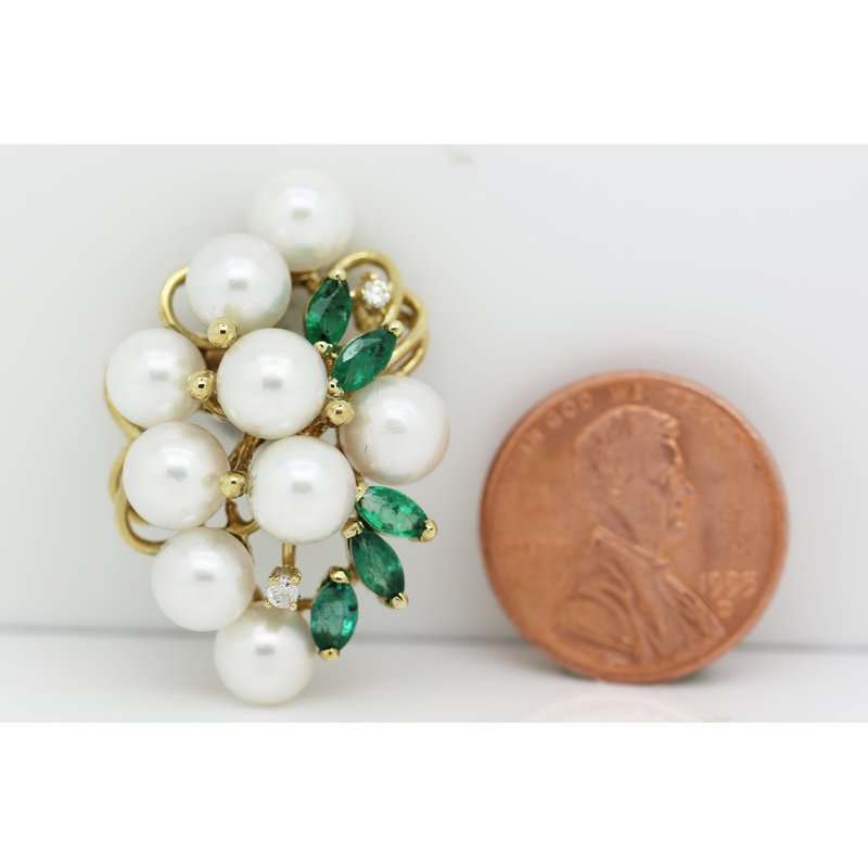 Estate Jewelry Emerald and Pearl Brooch