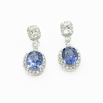 Brilliant Blue Sapphire Drop Earrings