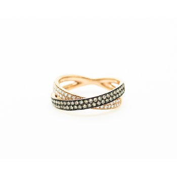 Two Toned Crossed Band Ring