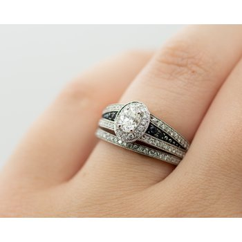 Signet Style Oval Diamond Wedding Set