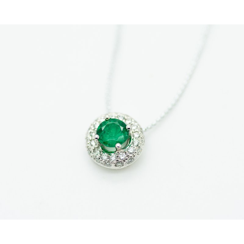 Jewelry Couture Exclusives Round Emerald and Diamond Pendant