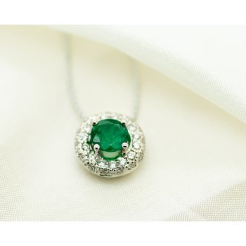 Round Emerald and Diamond Pendant