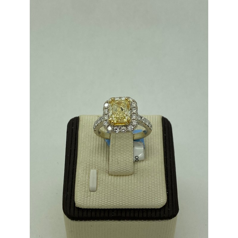 Jewelry Couture Exclusives 2.43CT Cushion Cute Yellow Diamond Engagement Ring