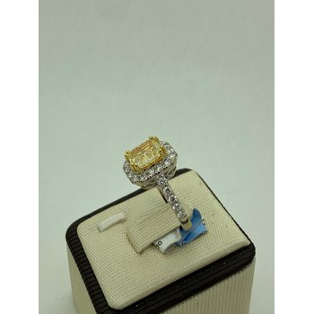 2.43CT Cushion Cute Yellow Diamond Engagement Ring