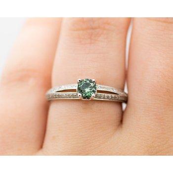 Dainty Green Diamond Engagement Ring