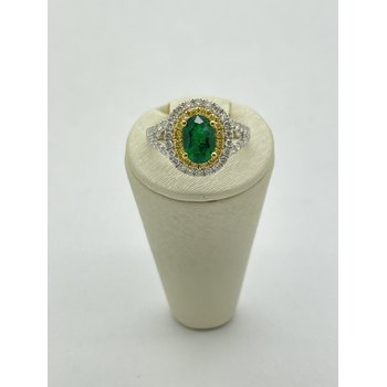 Diamond and Emerald White Gold Ring