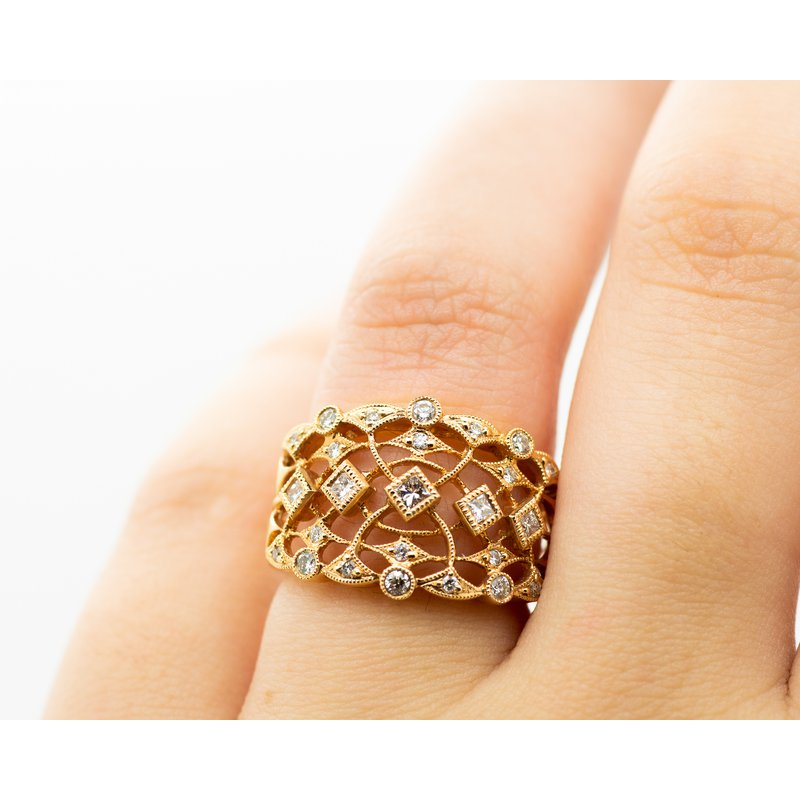Jewelry Couture Exclusives 18k Rose Gold Victorian Detail Ring