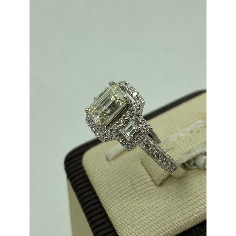 2.01CT Emerald Cut Engagement Ring