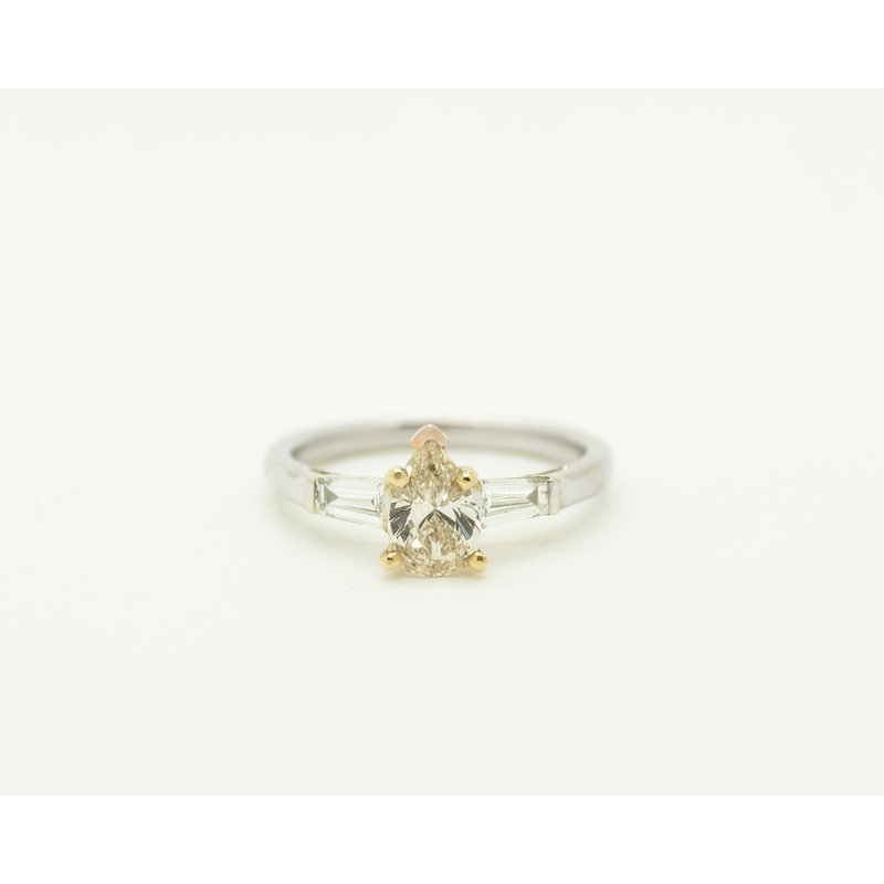 Jewelry Couture Exclusives Tri-Toned 3 Stone Pear Engagement Ring