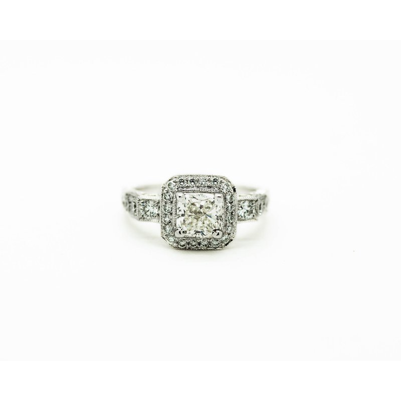 Jewelry Couture Exclusives Cushion Halo Vintage Style Engagement Ring