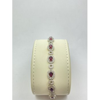 Brilliant Diamond and Oval Ruby Bracelet