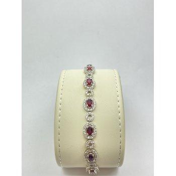 Brilliant Diamond and Oval Ruby Bracelet