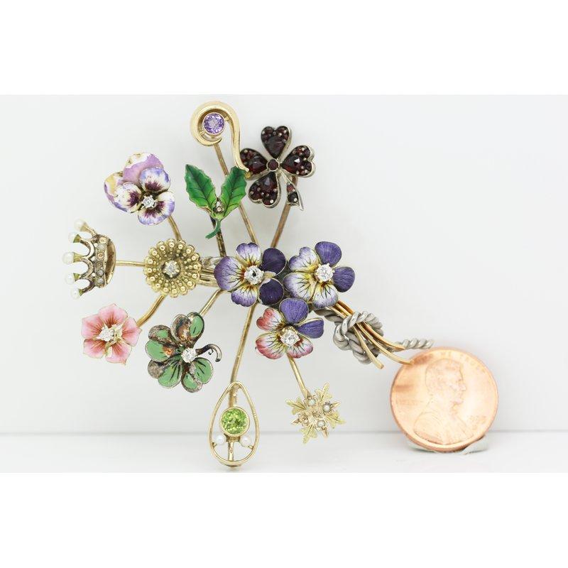 Estate Jewelry Flower Brooch