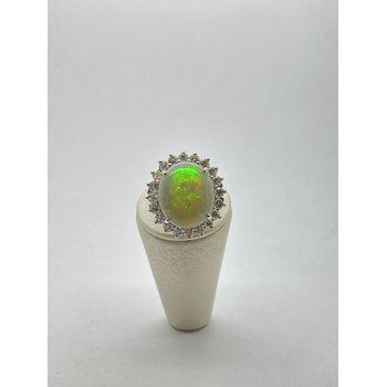Opal and Diamond White Gold Fashion Ring