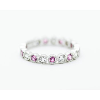 Pink Sapphire and Diamond Stacking Band