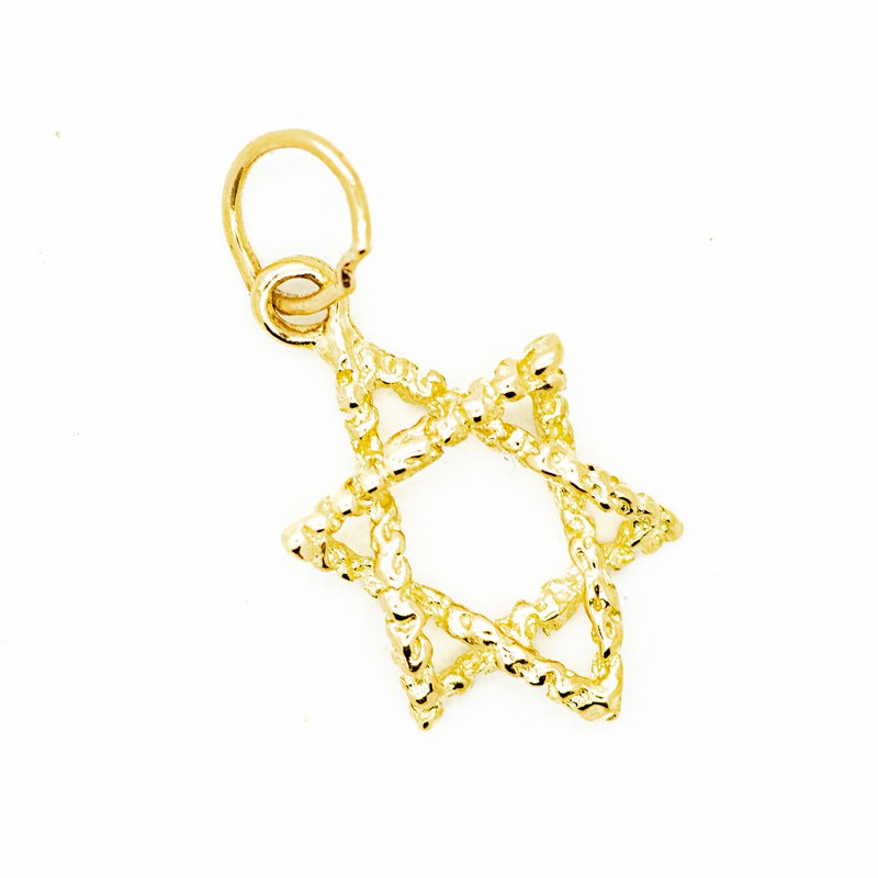 Twisted Gold Star of David Pendant