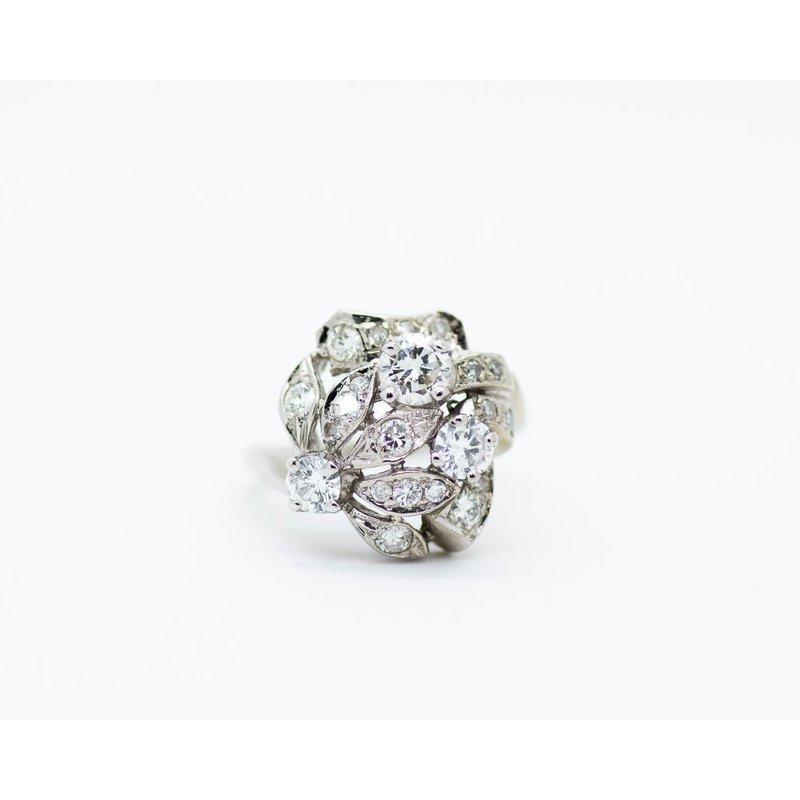 Estate Jewelry Vintage Floral Diamond Ring