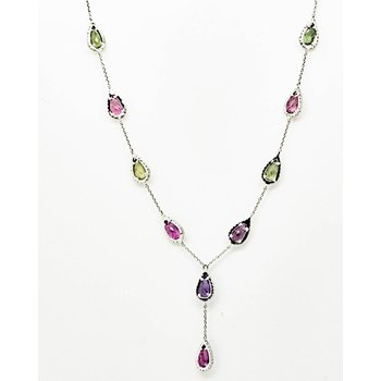 Mixed Tourmaline Raindrop Necklace