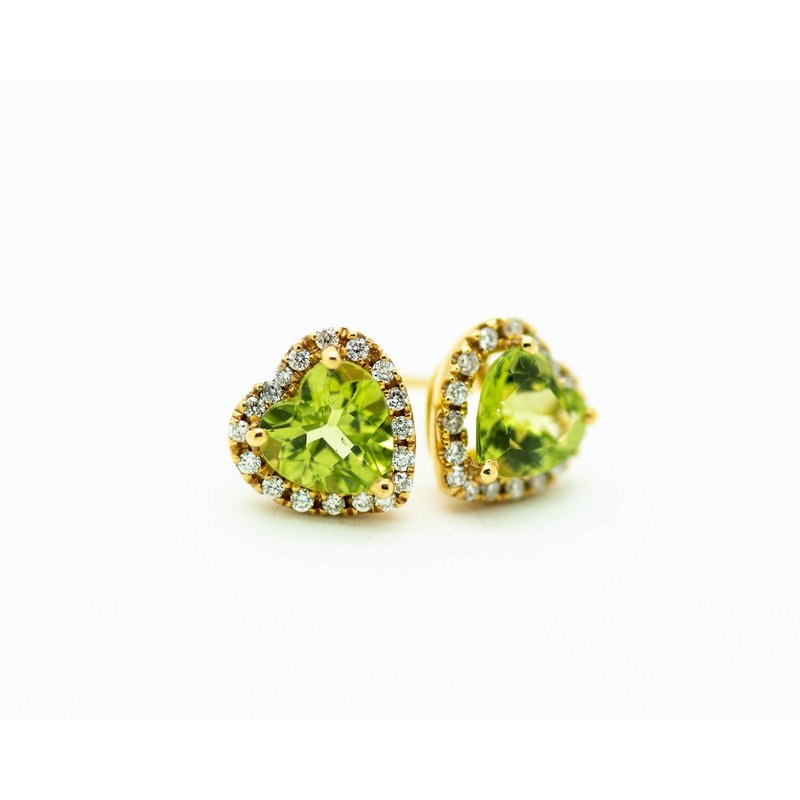 Jewelry Couture Exclusives Halo Heart Peridot Studs