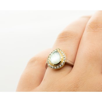 Pear Green Amethyst Diamond Halo Ring
