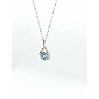Sapphire with Diamond Halo Pendant