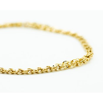 14k Yellow Gold Textured Stacked Link Bracelet