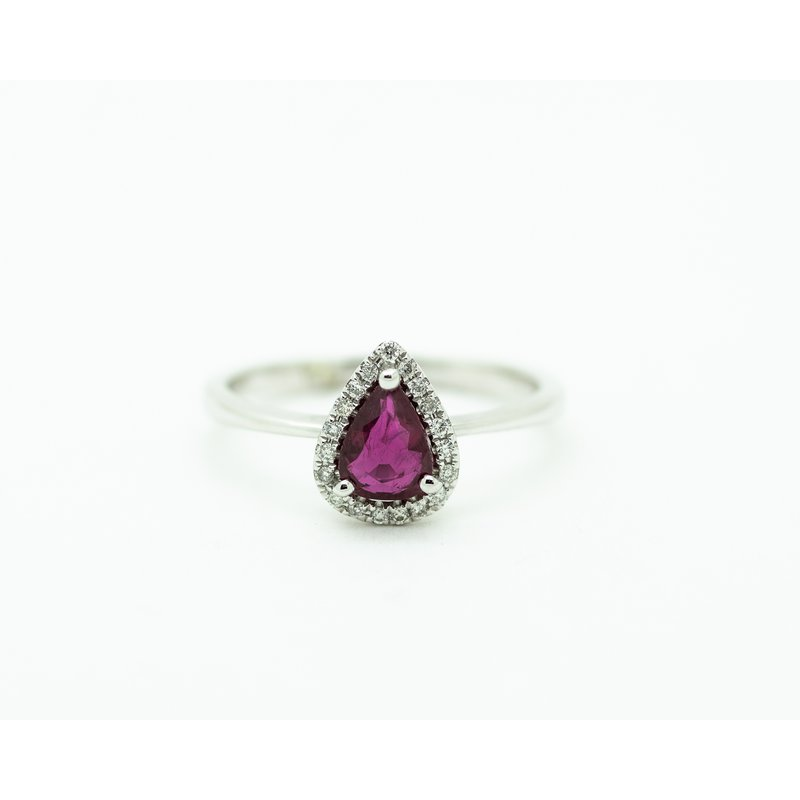Jewelry Couture Exclusives Pear Ruby Diamond Halo Engagement Ring