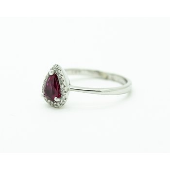 Pear Ruby Diamond Halo Engagement Ring