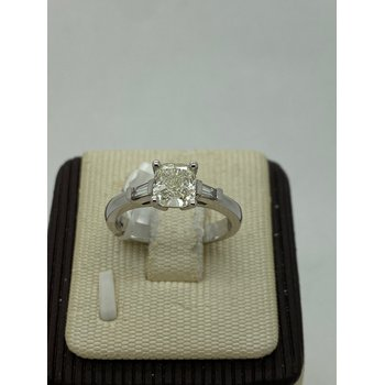 Cushion and Baguette Engagement Ring