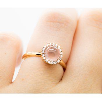 Round Rose Quartz Diamond Ring