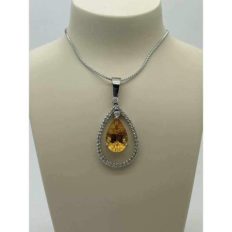 Jewelry Couture Exclusives Citrine and Diamond Drop Pendant