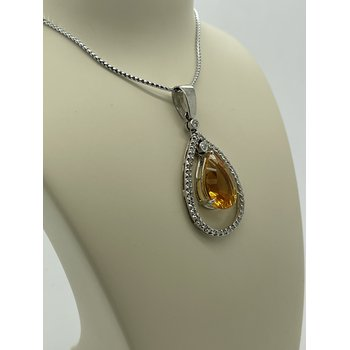 Citrine and Diamond Drop Pendant