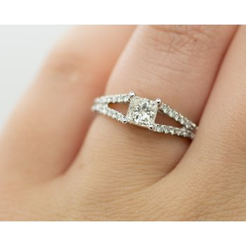 Princess Cut Split Band Engagement Ring
