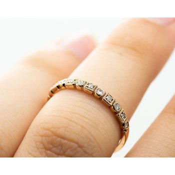 Geometric Diamond Rose Gold Stacking Band
