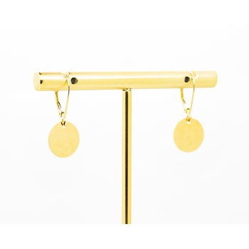 14k Yellow Gold Disc Drop Earrings