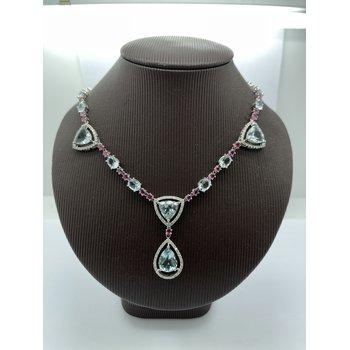 Aquamarine and Pink Tourmaline and Diamond Pendant Necklace