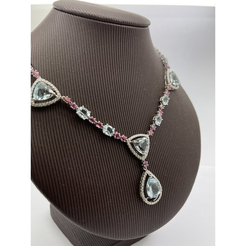 Jewelry Couture Exclusives Aquamarine and Pink Tourmaline and Diamond Pendant Necklace