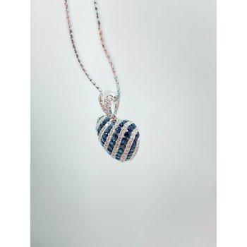 Sapphire and Diamond Heart Pendant