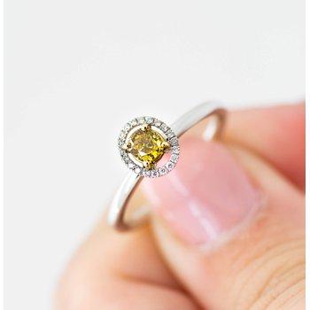 14k White Gold Yellow Diamond Engagement Ring