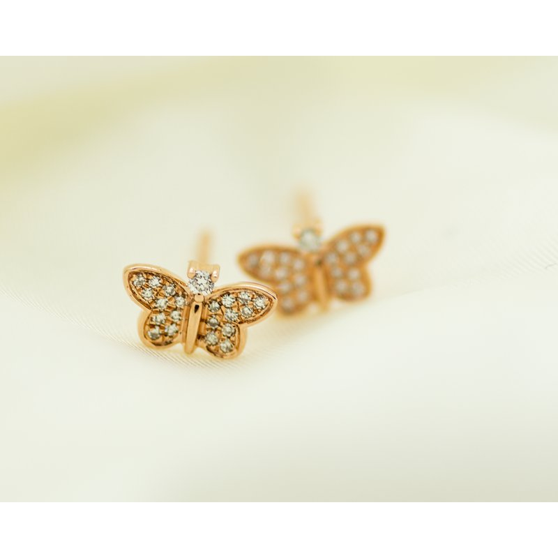 Jewelry Couture Exclusives 14k Rose Gold Diamond Butterfly Studs