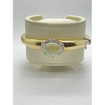 Opal and Diamond Yellow Gold Bangle