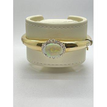 Opal and Diamond Yellow Gold Bangle