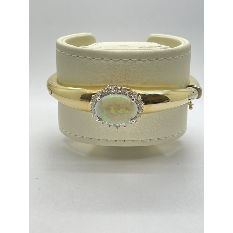 Jewelry Couture Exclusives Opal and Diamond Yellow Gold Bangle