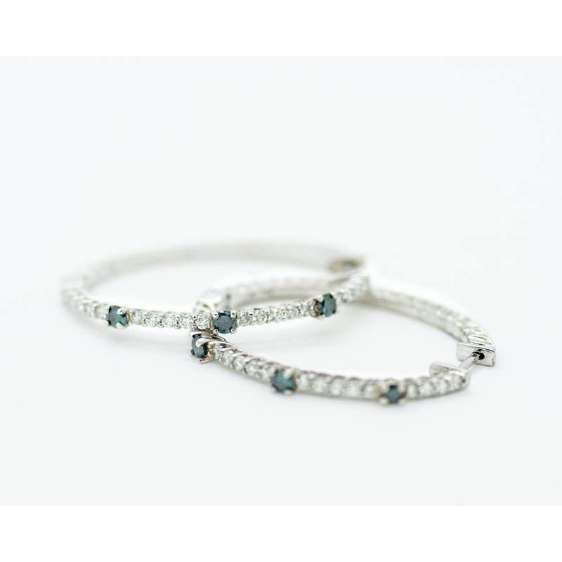 Jewelry Couture Exclusives Blue and White Diamond Hoops