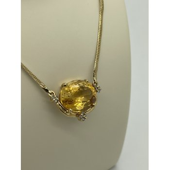 Oval Citrine and Diamond Necklace