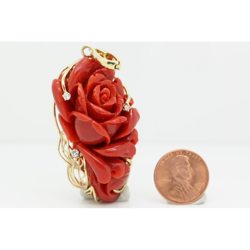 Estate Jewelry Coral Rose Pendant