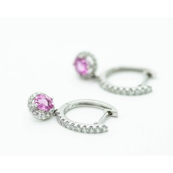 Pink Sapphire and Diamond Huggie Hoops