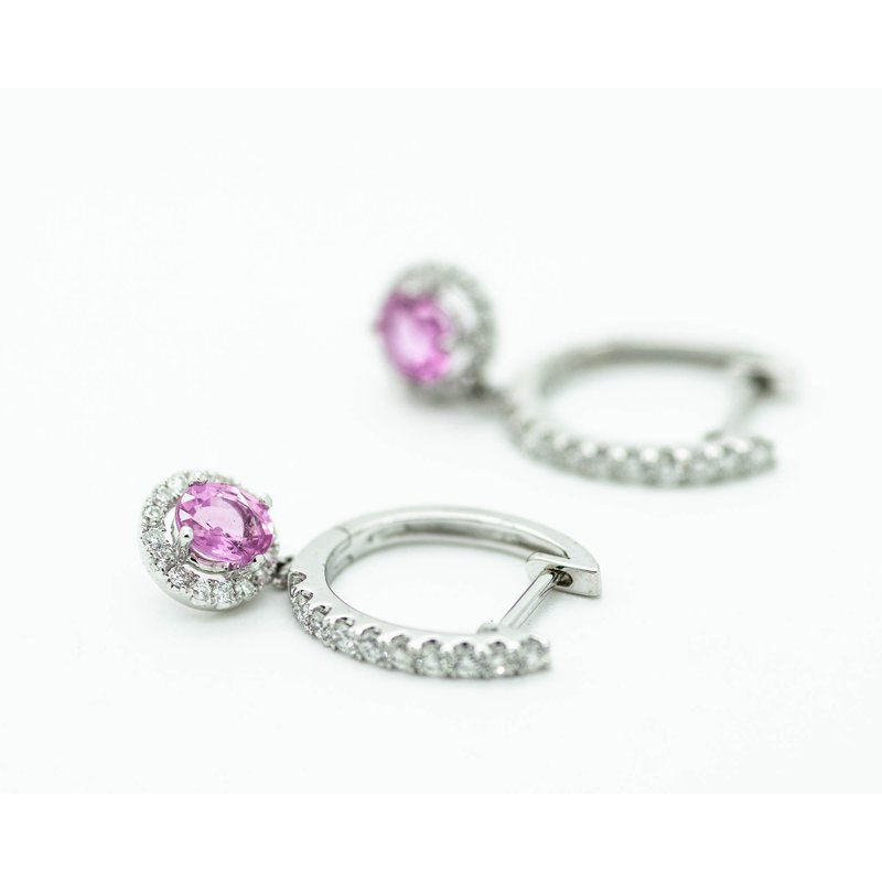 Jewelry Couture Exclusives Pink Sapphire and Diamond Huggie Hoops