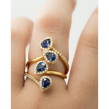 Climbing Multi-Stone Sapphire and Diamond Ring
