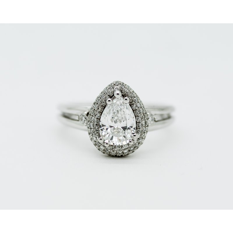 Jewelry Couture Exclusives Pear 1.25ct Pave Halo Engagment Ring